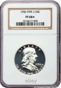 1956 2 Franklin Half Dollar 50c Ngc 68-star Près-cam Visage