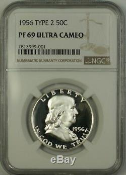 1956 2 Franklin Us Half Silver Dollar 50c Coin Ngc Pf-69 Ultra Cameo