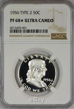 1956 2 Ngc Pr68 Camée Ultra Cam Dcam (star) Preuve Franklin Half Dollar