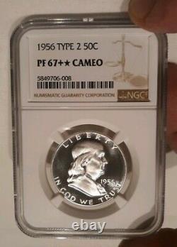 1956 50c (proof) Franklin Half Dollar Ngc Pf-67 + Plus Pop 1 Étoile Magnificent