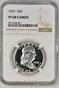 1957 Franklin Half Dollar Preuve Ngc Pf 68 Cameo / Pr68cam Frosty Coin