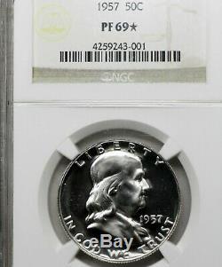 1957 Pf69 Star Franklin Half Dollar 50c Preuve, Ngc Graded Pr69