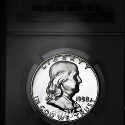 1958 Pf68 Star Franklin Half Dollar 50c Proof, Ngc Graded Pr68