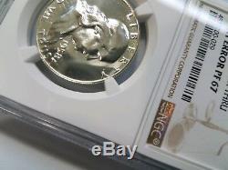 1958 Preuve Franklin Half Dollar Ngc Pf 67 Avers Frappé Thru Mint Erreur De Grève