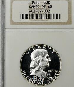 1960 Pf68 Cameo Franklin Half Dollar 50c Preuve, Ngc Graded Pr68 Cam