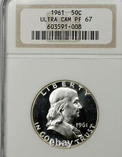 1961 Pf67 Ultra Cameo Franklin Half Dollar 50c Proof, Ngc Graded Pr67 Dcam