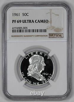 1961 Preuve Franklin Demi-dollar 50c Ngc Certifié Pf 69 Unc Ultra Cameo (005)