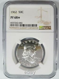 1962 Franklin Silver Half Dollar Ngc Pf 68 Star Pr Pl Deep Mirror Proof Dpl Dmpl
