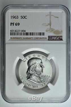 1963 50c Preuve Franklin Half Dollar Ngc Pf 69