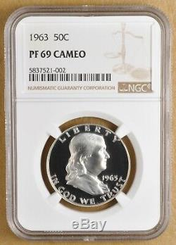 1963 Preuve Franklin Argent Half Dollar Ngc Pf 69 Cameo