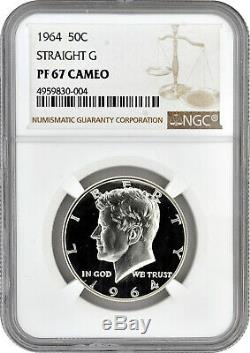1964 1 Droite G 50c Proof Silver Kennedy Half Dollar Ngc Pf 67 Cameo