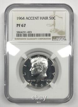 1964 Accent Hair Proof Kennedy Demi-dollar Ngc Pf67 Variété De Cheveux Accentués