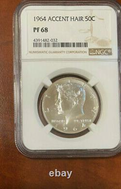1964 Cheveux Accented Kennedy Demi-dollar Pf 68
