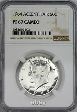 1964 Cheveux Accentués Ngc Pr67 Pf67 Cameo Kennedy Half Dollar Blast White