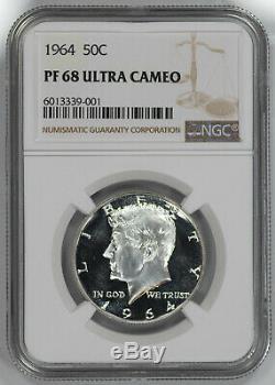 1964 Kennedy Half Dollar 50c Ngc Certifié Pf 68 Preuve Ultra Cameo Unc (001)