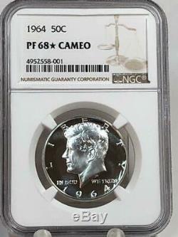 1964 Kennedy Half Dollar Ngc Pf68 Étoiles Cameo Pf Looks Ultra Dcam
