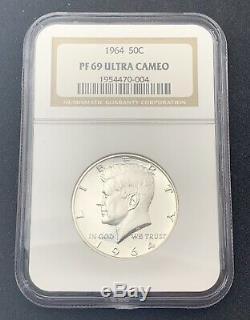 1964 Kennedy Half Dollar Pf69 Ultra Cameo 90% D'argent Ngc