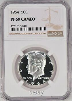 1964 Kennedy Half Dollar Preuve Ngc Pf 69 Cameo / Pr69cam Spot Gratuit Coin