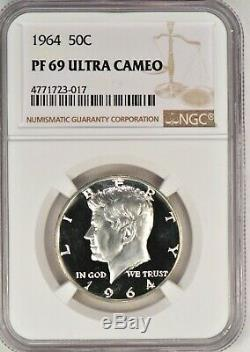 1964 Kennedy Half Dollar Proof Ngc Pf 69 Ultra Cameo / Pr69dcam Top Pop