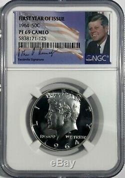 1964 Ngc Pf69 Camée Proof Kennedy Demi-dollar 50c 90% D'argent Premiere Annee Signatur