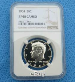 1964 Ngc Pf 68 Cam Kennedy Half Dollar Argent, Proof Gem 68 Cameo 50c Coin