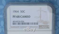 1964 Ngc Preuve 68 Cameo Argent Kennedy Half Dollar, Gem Pf 68 Cam Coin