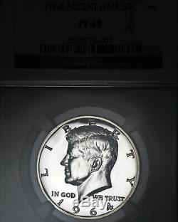 1964 Pf68 Accented Cheveux Kennedy Half Dollar 50c Preuve, Ngc Graded Pr68