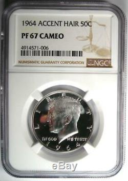 1964 Preuve Accented Cheveux Kennedy Half Dollar 50c Ngc Pr67 Cameo 575 $ Valeur