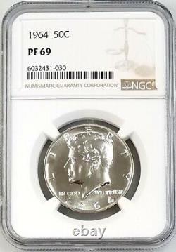 1964 Preuve Kennedy Half Dollar Certifié Pf 69 Par Ngc