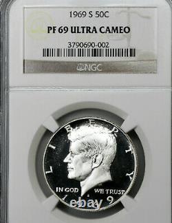 1969-s Pf69 Ultra Cameo Kennedy Half Dollar 50c Preuve, Ngc Graded Pr69 Dcam