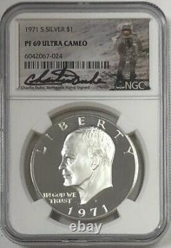 1971 S Eisenhower Ike Dollar D'argent Ngc Pf69 Ultra Cameo Charlie Duke Signé