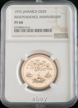 1972, Jamaïque. Pièce De 20 Dollars D'or De Grande Valeur. (15.8gm!) Le Meilleur Papa! Ngc Pf-68