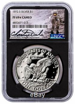 1972-s Argent Eisenhower Dollar Ngc Pf69 Cameo Charlie Duke Signé Sku54675
