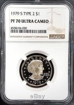 1979 S Type 2 Preuve Susan B. Anthony Dollar, Pf 70 Cameo Ultra Par Ngc! Effacer S