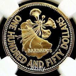 1981 Or Barbade 150 $ Dollar Poinciana Ngc Proof 70 Ultra Cameo 1 140 Minted