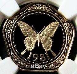 1981 Or Belize $ 100 Dollar Ngc Preuve 70 Uc Jaune Machaon Coin