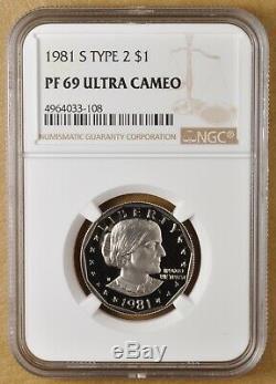 1981 S Preuve Susan B Anthony Dollar Type 2 Ngc Pf 69 Ultra Cameo