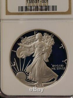 1986 S Ngc Pf70 Ucam Certifié Silver Eagle Dollar Américain Proof Ultra Cameo