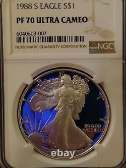 1988-s Ngc Pf70 Ucam Certifié American Silver Eagle Dollar Proof Ultra Cameo