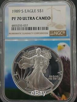 1989-s Ase Proof Dollar Américain Silver Eagle Ngc Pf70 Ucam Eagle Top Pop Core