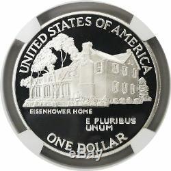 1990 P 1 $ Eisenhower Centennial Commémoratif En Argent Dollar Ngc Pf70 Uc