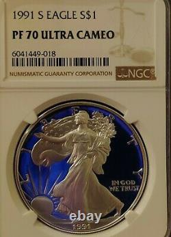 1991 S Ngc Pf70 Ucam Certifié American Silver Eagle Dollar Proof Ultra Cameo