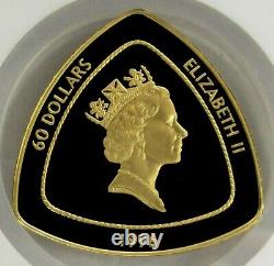 1996 Or Bermudes $ 60 Triangle Monnaie Ngc Dollar Proof 69 Ultra Cameo 1500 Minted