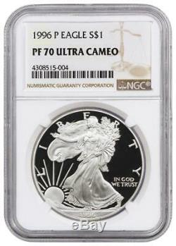 1996-p Ngc Pf70 Preuve American Silver Eagle One Dollar Coin