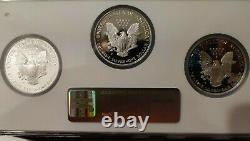 1998 1999 2000-p Ngc Pf69 Ucam 3 Porte-pièces Set Set American Silver Eagle Dollar