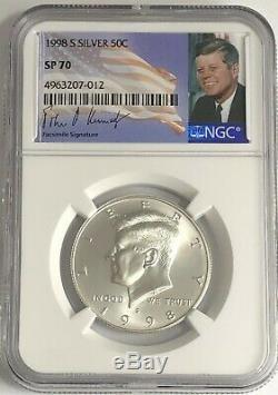 1998 S Ngc Sp70 Argent Kennedy Matte Finish Proof Half Dollar Jfk Coin Signe 50c