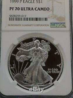 1999-p Ngc Pf70 Ucam Certifié Dollar Américain Silver Eagle Proof Ultra Cameo
