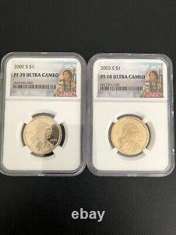 2000-2020 S Sacagawea Dollar Ngc Pf7025 Pièces Completeflawless Quality
