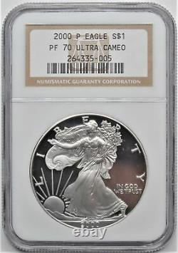 2000 P 1oz. 999 Silver Fine American Eagle Dollar S$1 Ngc Pf 70 Ultra Cameo