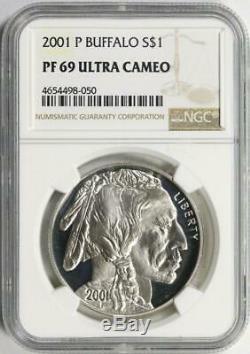 2001-p American Silver Dollar Buffalo Commémorative Ngc- Proof-69 Ucam